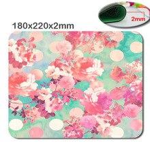Alfombrilla para ratón personalizada, romántica, rosa, Retro, con estampado Floral, Teal, lunares, con estilo, 220x180x2mm, duradera, para oficina y regalo