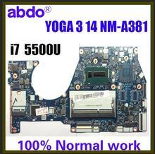 BTUU1 NM-A381 pour Lenovo YOGA 3 14 YOGA3 14 ordinateur portable carte mère CPU i7 5500U DDR3 100% travaux dessai