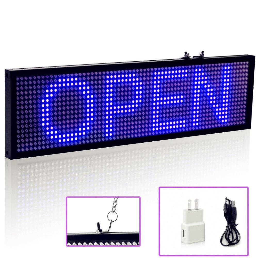 Синяя SMD P5 светодиодная вывеска 34 см, Беспроводные Wi-Fi пульты дистанционного управления, программируемая прокрутка, сообщения, Светодиодная...