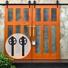 LWZH Kit de quincaillerie de porte de grange coulissante   En acier noir en forme de J avec grands rouleaux, piste placard Kit de quincaillerie de porte pour Double porte 7/9FT