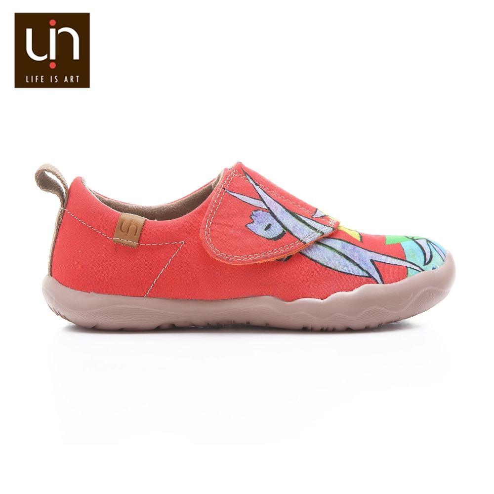 UIN Beach Game Design Painted Big Kids Casual Shoes Easy Hook & Loop Canvas Sneakers Girls/Boys Soft Flats Children Fashion enlarge
