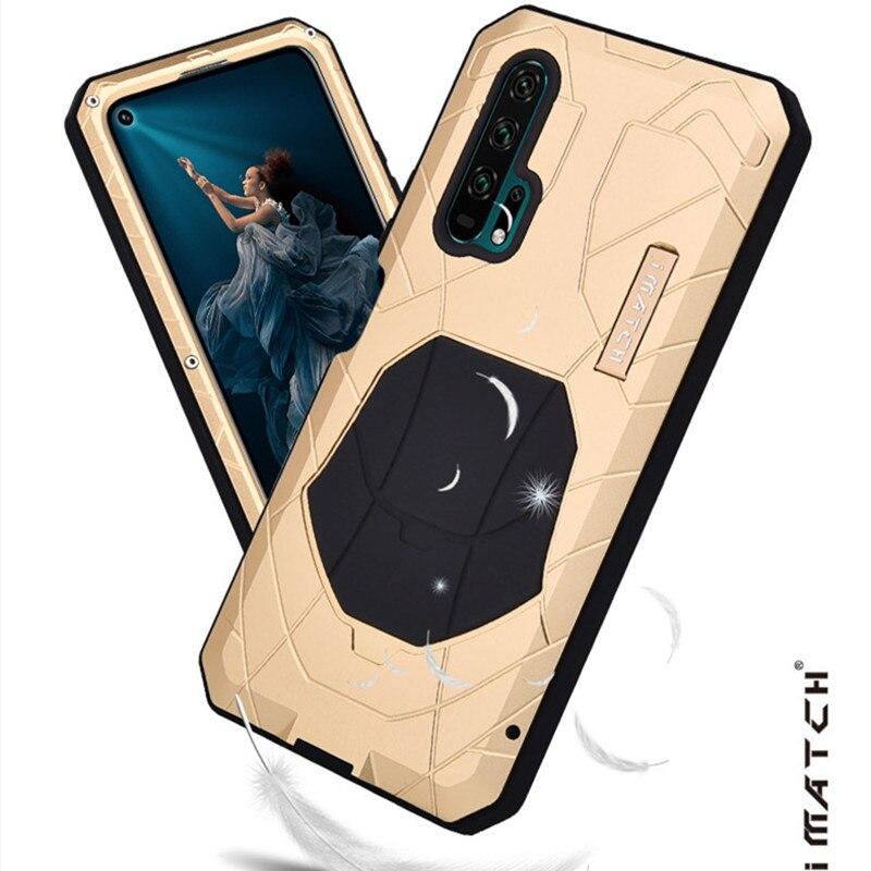 IMATCH-غلاف كامل لهاتف Huawei Honor 20 Pro ، جراب واقٍ من السيليكون والمعدن الصلب ومقاوم للصدمات