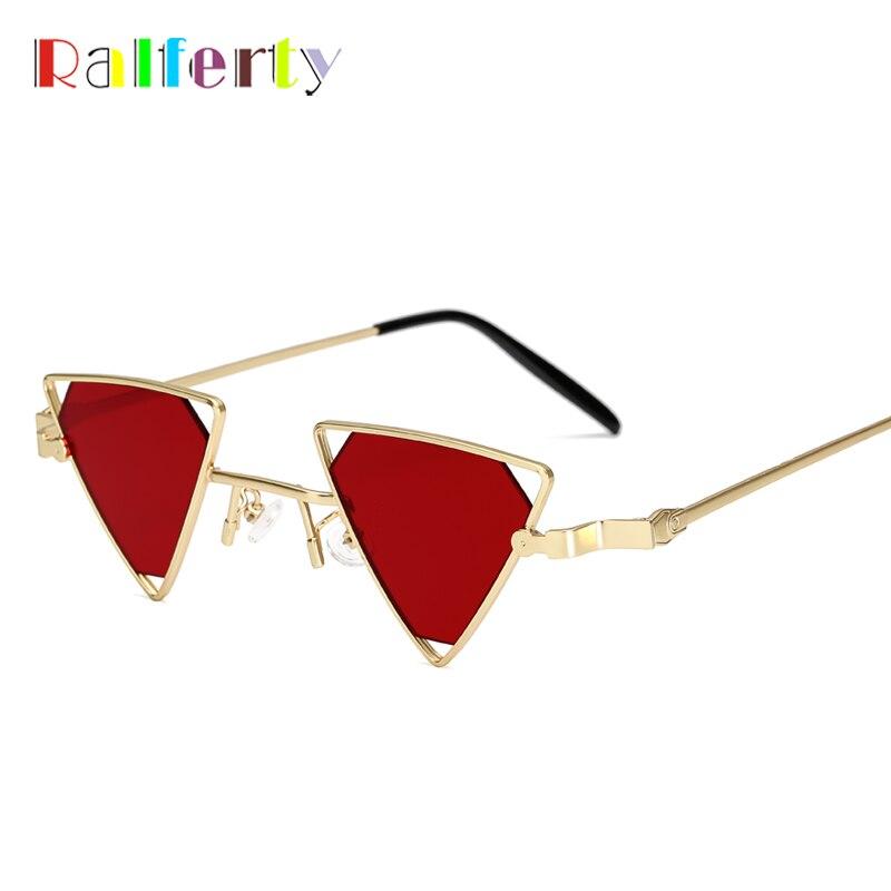 Ralferty 2018 único Mini triángulo gafas de sol mujeres hombres lente de Metal pequeño Vintage gafas rojas, accesorios femeninos Oculos B07