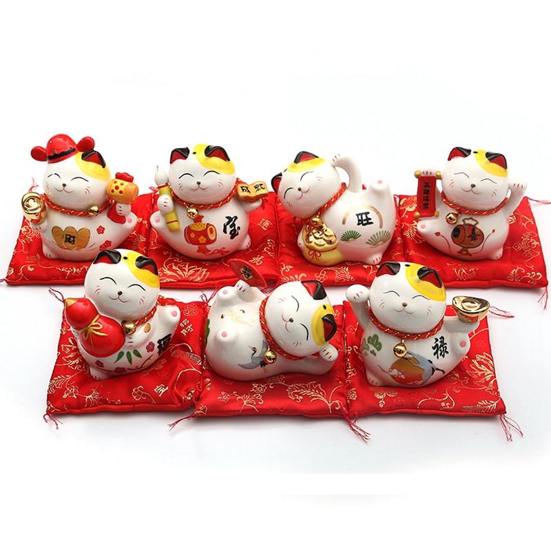 4 inch Maneki Neko Ceramic Lucky Cat Home Decor Porcelain Ornaments Creative Business Gifts Fortune Cat Money Box Fengshui Craft