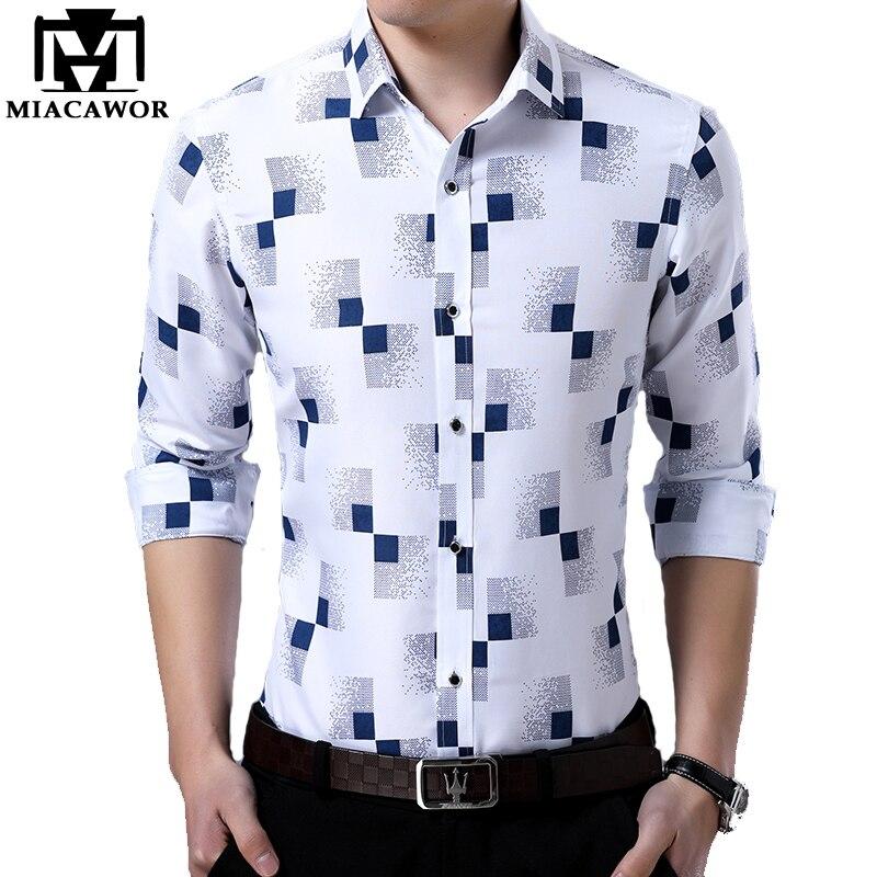 ¡Novedad de 2019! Camisa de manga larga con estampado de moda para hombre de MIACAWOR, Camisa Masculina C419