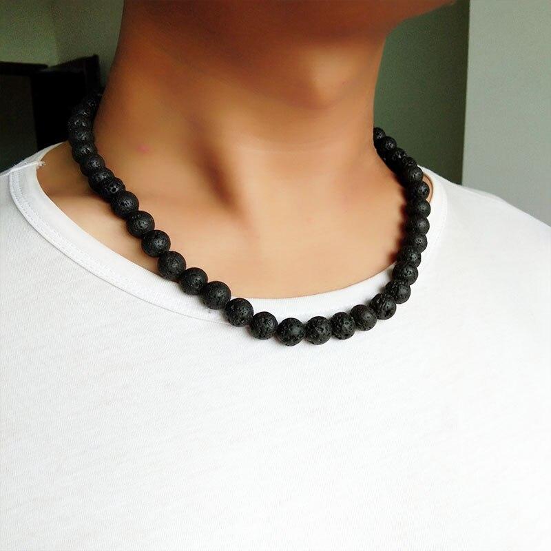 Мужское ожерелье 6 мм 8 мм черный вулканический Лава камень колье рок бусы цепи ожерелье мужские ювелирные изделия ручной работы колье дропшиппинг
