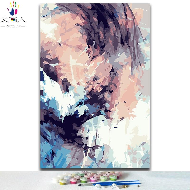 Diy Раскрашивание по номерам абстрактные современные простые Пейзажи Картины краска по номерам с цветами для взрослых diy рамка