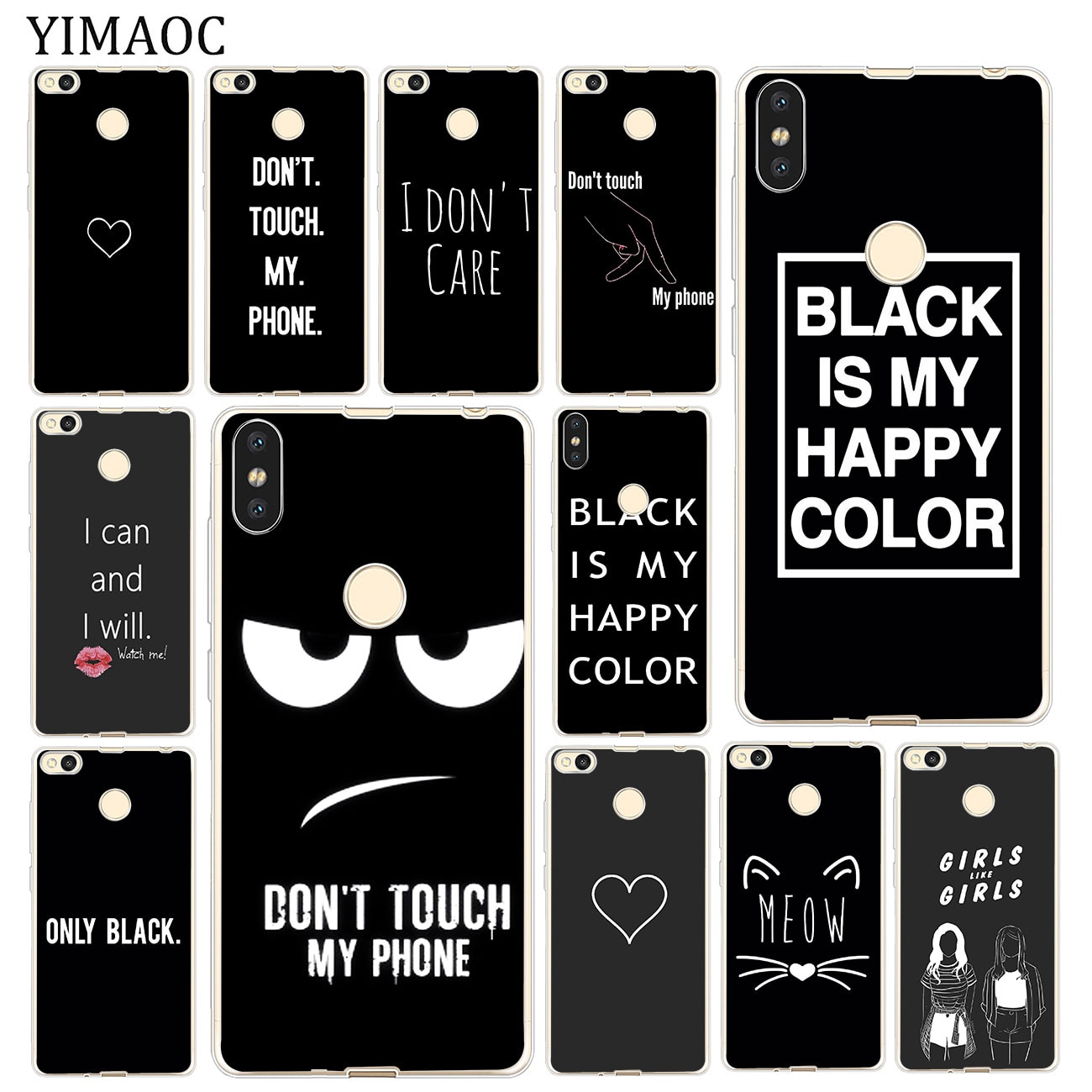 Black is My Happy Color Don't touch my phone Case for Xiaomi MI Redmi 8A 7A 6A 5A 4X Note 8 7 6 Pro