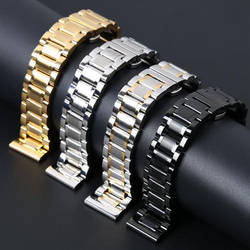 Купить с кэшбэком Stainless Steel Watch Band Watchband Wrist Strap For Samsung Gear S3 Frontier Classic Wristband Bracelet  22mm