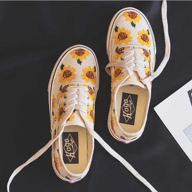 Margarida sapatos de lona feminino meninas girassol tênis senhoras vulcanizado sapato baixo topo lacing flat heel casual sapatos amarelos 35-40 ds45