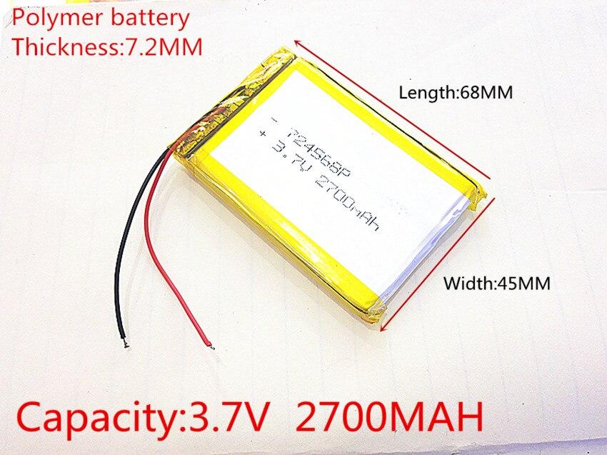 Li-po 3,7 V, 2700 mAH, 724568 PLIB (batería de polímero de iones de litio) batería de Li-Ion para tablet pc GPS mp3... mp4 celular teléfono altavoz