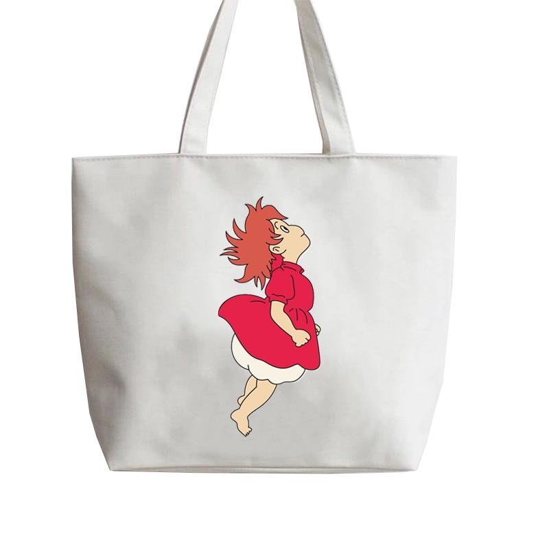 Ponyo en el acantilado, bolsos de mano para mujer, moda 2019, nuevo TOTE de dibujos, bolso de lona, bolso de hombro para mujer, bolsos de moda