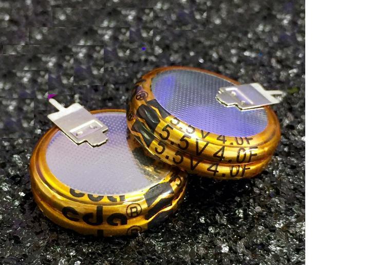 10 pces ultra capacitor 5.5v4f super capacitor 5.5v 4f v estilo através do capacitor do furo