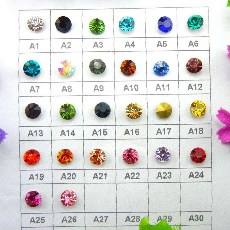 Glas Kristall 9 Größen Punkt zurück nizza Farben strass perlen Kleber auf Runde form handimade Handwerk ornament diy trimmen