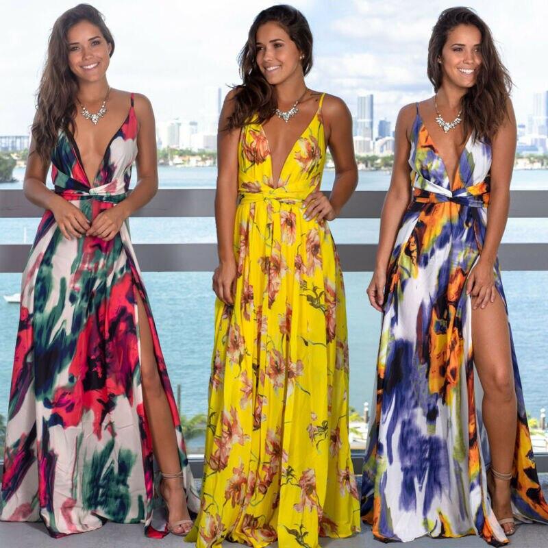 Vestido bohemio informal de verano para mujer, vestido largo ajustado de flores ajustable sin mangas, vestido playero de noche para fiesta S M L XL