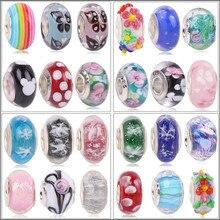Nouvelles perles de verre au chalumeau de neige de fleur colorée européenne breloque à perles de Murano Aolly Pandora pour bracelets à faire soi-même et bracelets