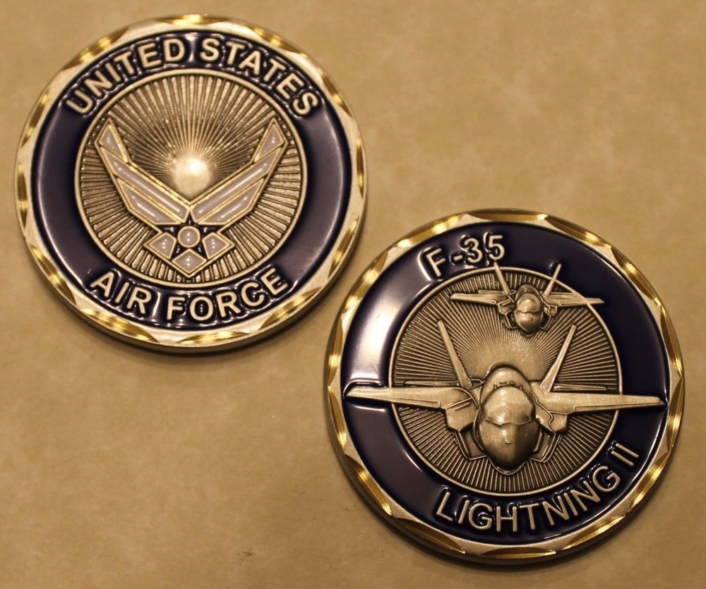 Military Coin F-35 Lightning II Air Force Gold Finish Challenge Coin