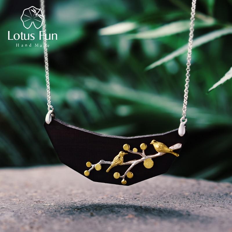 Lotus Fun Plata de Ley 925 auténtica hecho a mano con piedra Natural Vintage joyería fina encantador collar de pájaros en las ramas para mujeres