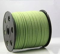 free shipping 100yds flat faux leather suede cord 3mm bright greenfaux suede cord for bracelets 3mm