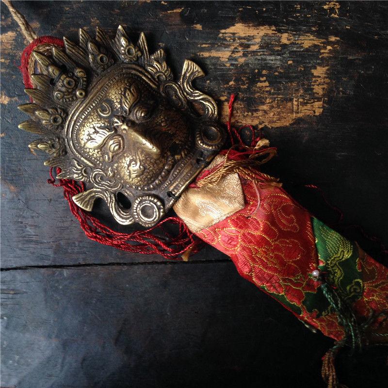 christmas Rare Old Tibet Buddhist Bronze Day Tito Armor Golden Winged Dapeng.Buddha Mask new Year
