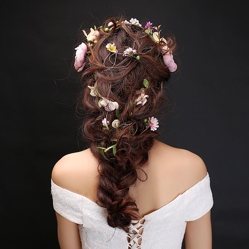 Flower crown Rattan Headwear Wedding headdress 145cm