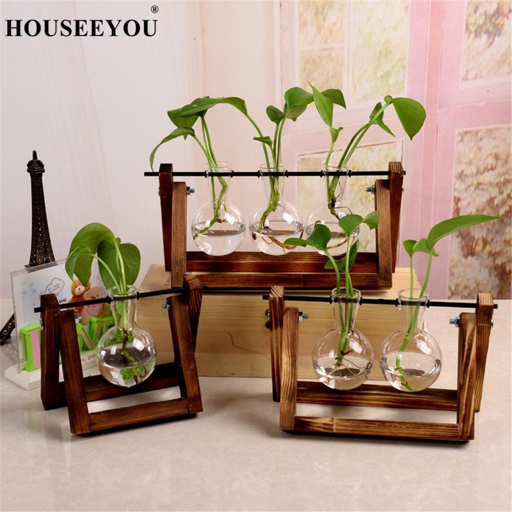 Terrarium Kreative Wasserkulturanlage Transparent Vase Holzrahmen Vase Dekorationen Glas Tabletop Pflanze Bonsai Decor Blume Vase
