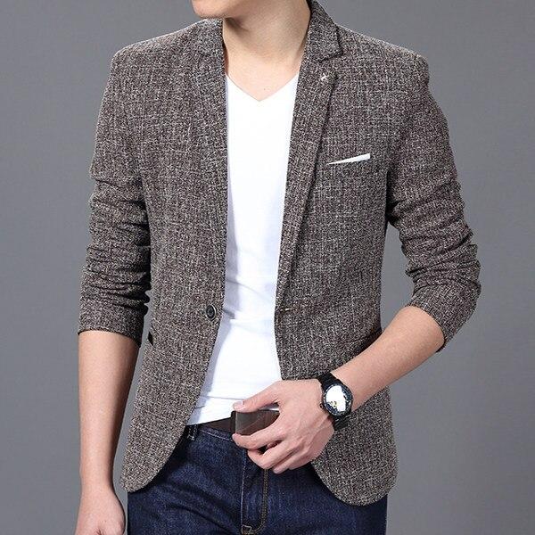 Blazer Men 2018 Men'S Fashion Brand Solid Linen Personality Pocket Male Single-Breasted Single Button Terno Masculino 3XL FIWYRN