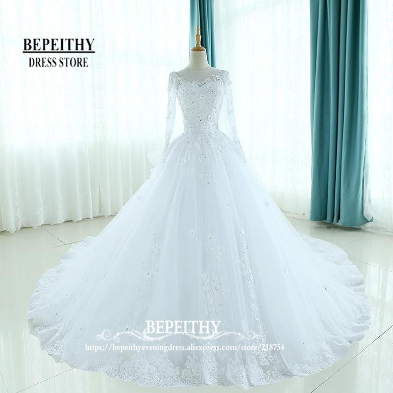 Moda De manga completa vestidos De bola Vestido De boda primicia cuello volantes espalda Vestido De novia apliques vestidos De novia De estilo princesa nuevo
