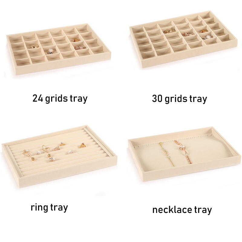 Beige Velvet Jewelry Plate Jewelry Necklace Pendant Bracelet Bracelet Display Earrings Storage Tray Display Props 7 pieces lot modern white pu leather flower jewelry display cabinet wooden pendant necklace earring plate tray display board