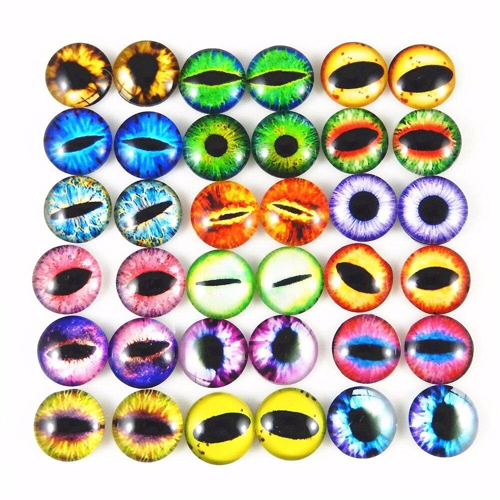 ¡Venta al por mayor! 100 Uds. Cabujones surtidos redondos de cristal Ojo de Dragón cubiertos para fabricación de muñecas y engastes de joyería 6/8/10mm