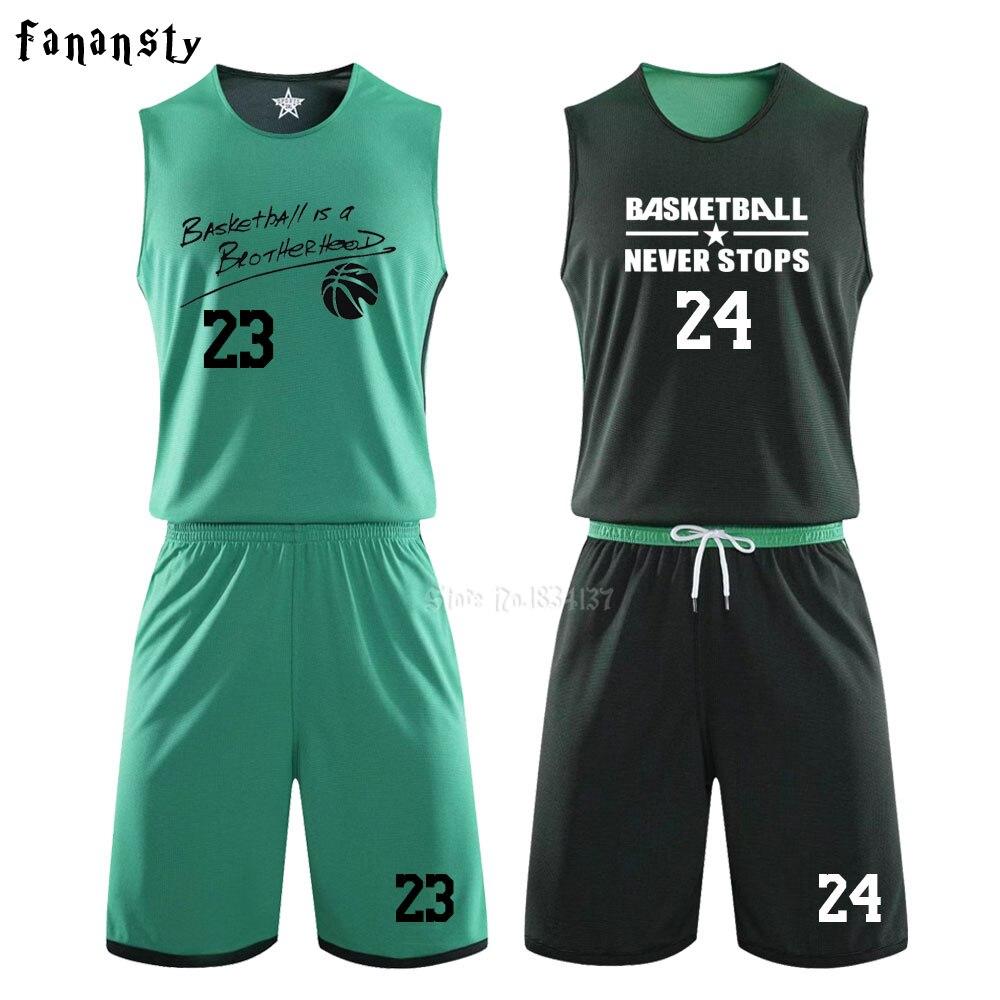 DIY hombres uniformes para baloncesto reversibles chico kits de ropa deportiva de doble cara camisetas de baloncesto chico s trajes de Entrenamiento Personalizados