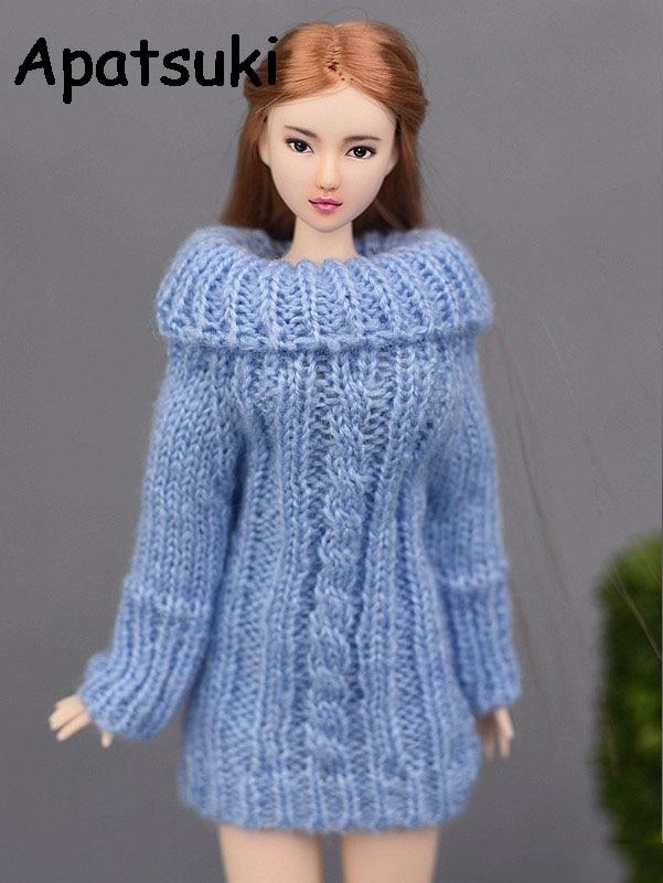 Jersey tejido de punto azul para Ropa de muñeca Barbie, Tops hechos a mano, abrigo, ropa y vestidos para muñecas, accesorios para muñecas 1/6, juguetes para niños