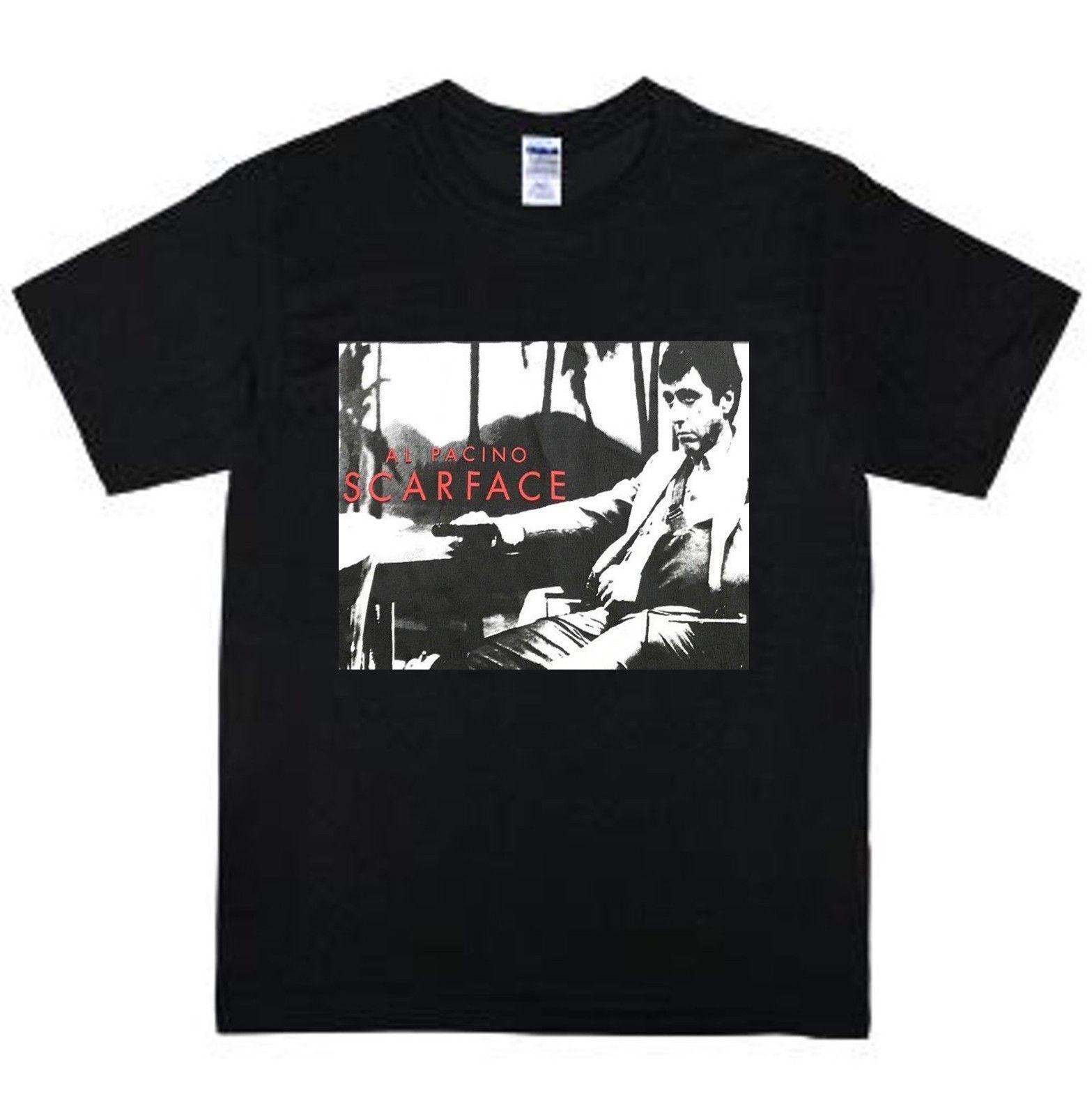 Vintage Al Pacino negro Scarface película promocional Rap Hip Hop para hombres, camiseta de todo tamaño de cuello T camisa Harajuku Tops Tees de talla grande