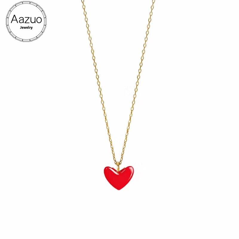Aazuo Natürliche Rote Korallen Echt 18K Gelb Gold Einzigen Kette Schöne Rote Herzen Halskette begabt für Frauen Au750 18 zoll Kette