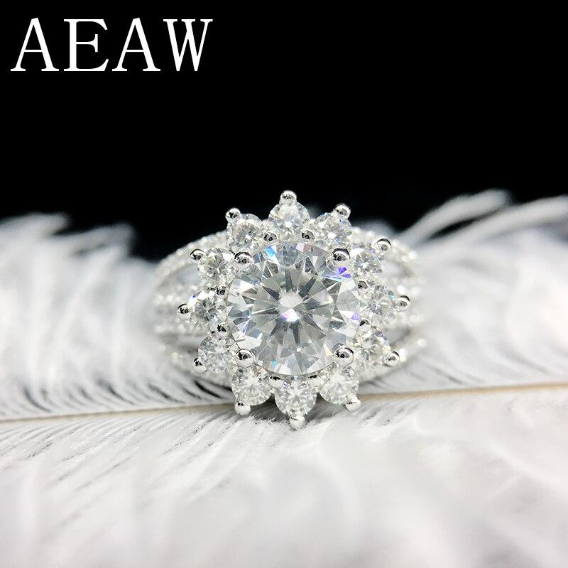 Anillo de compromiso de AEAW de 5mm, 2CTW DF Color Lab, Diamante decorativo, oro blanco de 14 quilates, anillos de boda para mujer