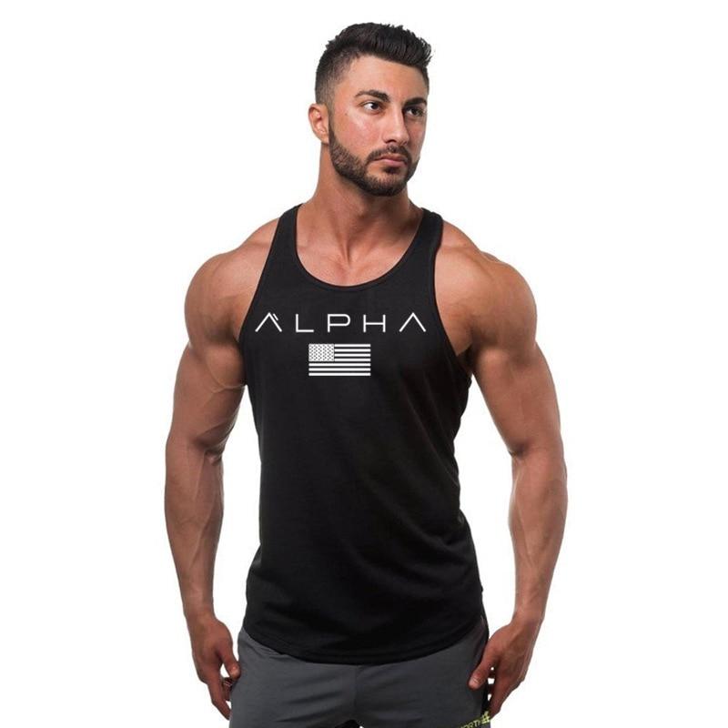 ALPHA New fashion cotton sleeveless shirt tank top men fitness shirt men gyms bodybuilding workout gym singlet vest fitness men