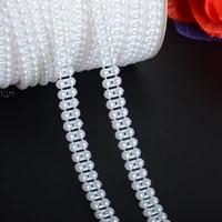 boliao 2 yard 9 mm 38 width abs half round flatback imitation pearl beads chain trim wedding bridal bouquet decoration r2051