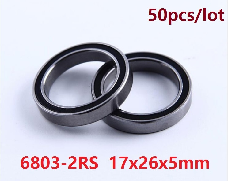 50 unids/lote 6803RS 6803-2RS 6803 2RS rodamiento de bola RS 17*26*5 rodamiento rígido de bolas 17x26x5mm