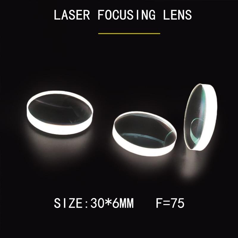 Máquina de soldadura láser Weimeng lente de enfoque 10 unids/bolsa 30*6mm F = 75 JGS1 espejo óptico de cuarzo 1064nm AR Plano-convexo forma