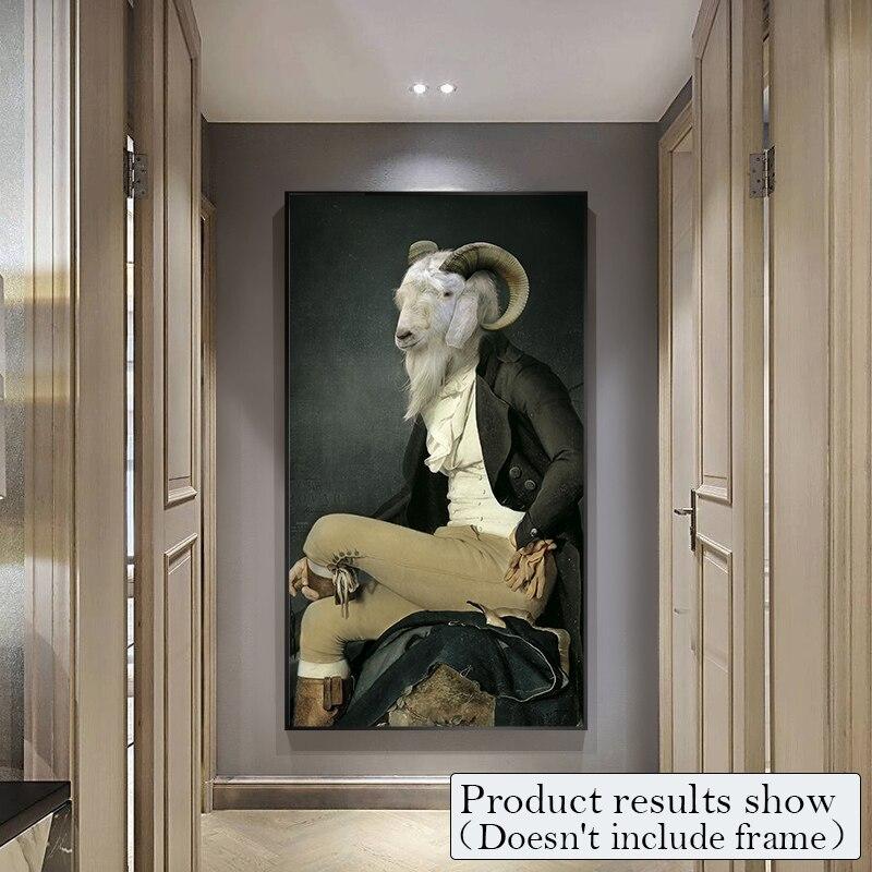 Cavalheiro quadros em tela arte da parede animais posters e impressões da moda para sala de estar retro nostalgia casa deco