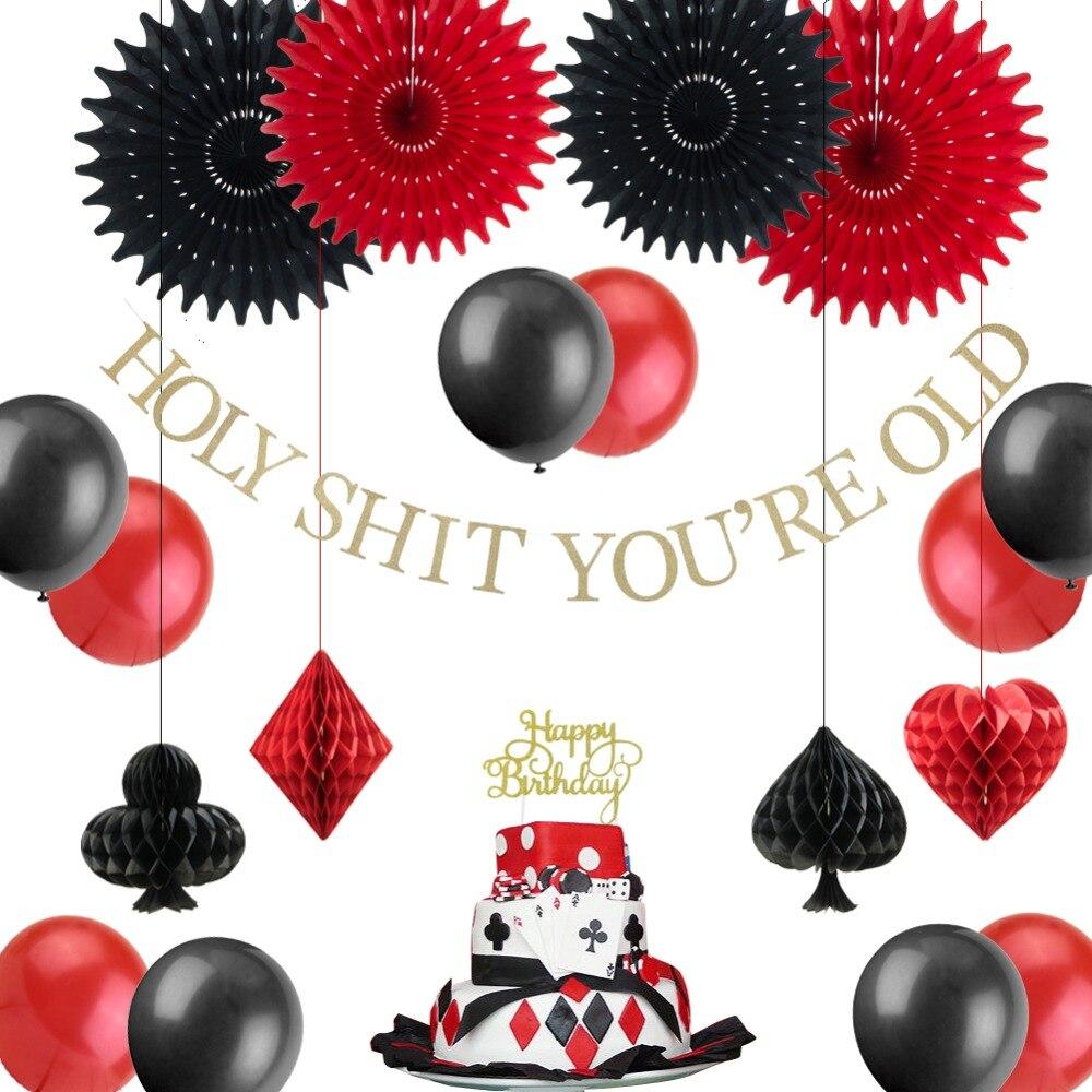Казино Покер тематическая вечеринка на день рождения украшения висячий баннер черные красные воздушные шары Торт Топперы бумажные вентиля...