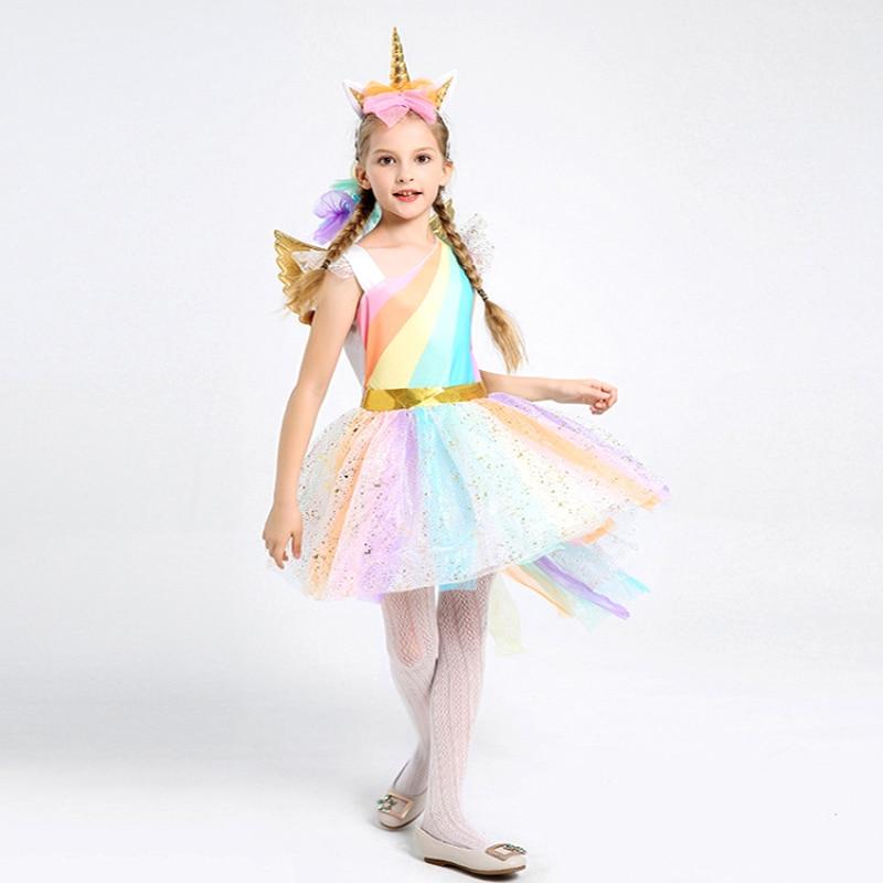 Kids Girls Rainbow Unicorn Costume For Girls Princess Halloween Carnival Birthday Party Dress Cosplay Costumes cute unicorn mermaid reindeer costume cosplay girls tutu princess dress halloween costume for kids