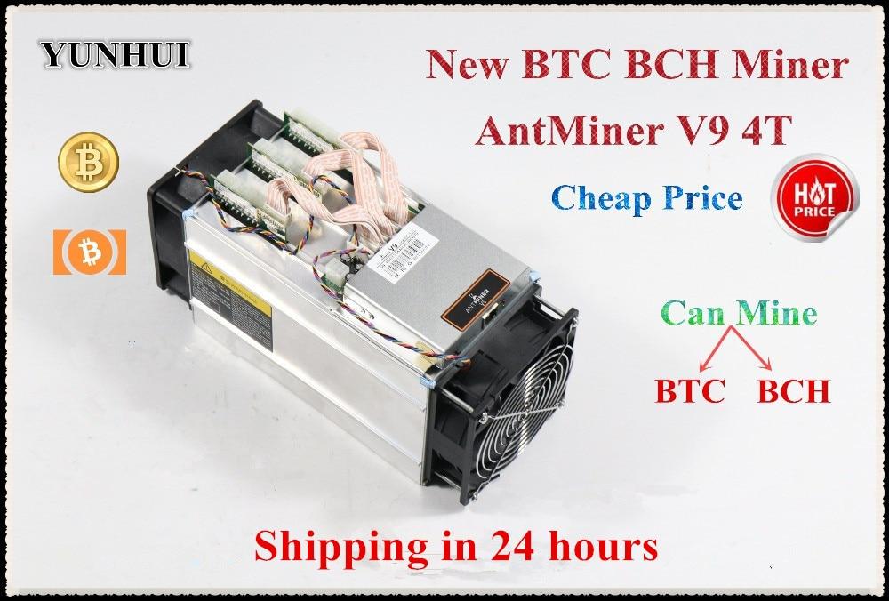 YUNHUI más Bitcoin Miner AntMiner V9 4TH/S BTC minero Asic minero mejor que Antminer S5 S7 T9 + S9 S9i WhatsMiner M3 Ebit E9