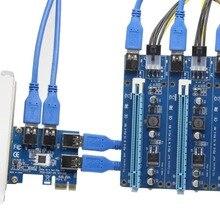 60cm USB 3.0 PCI-E Express 1x à 16x adaptateur de carte Riser dextension pcie 1 à 4 usb pour carte graphique vidéo pour Bitcoin Litecoin