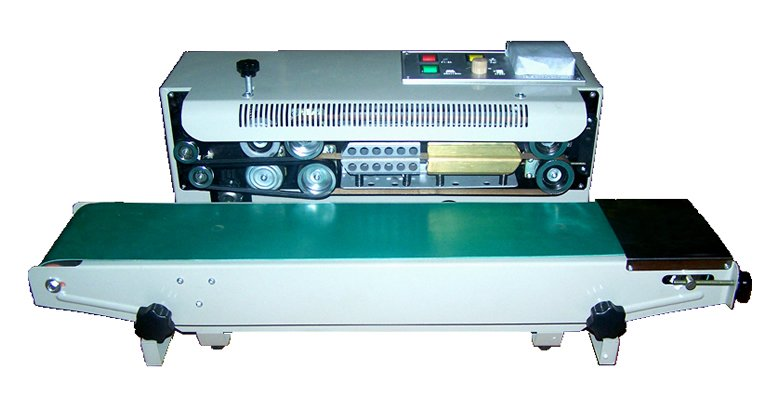 Automático contínuo Plastic Bag Máquina de Vedação, banda Selador Filme (Vedação Largura 6-12 MM), impressão da roda de aço