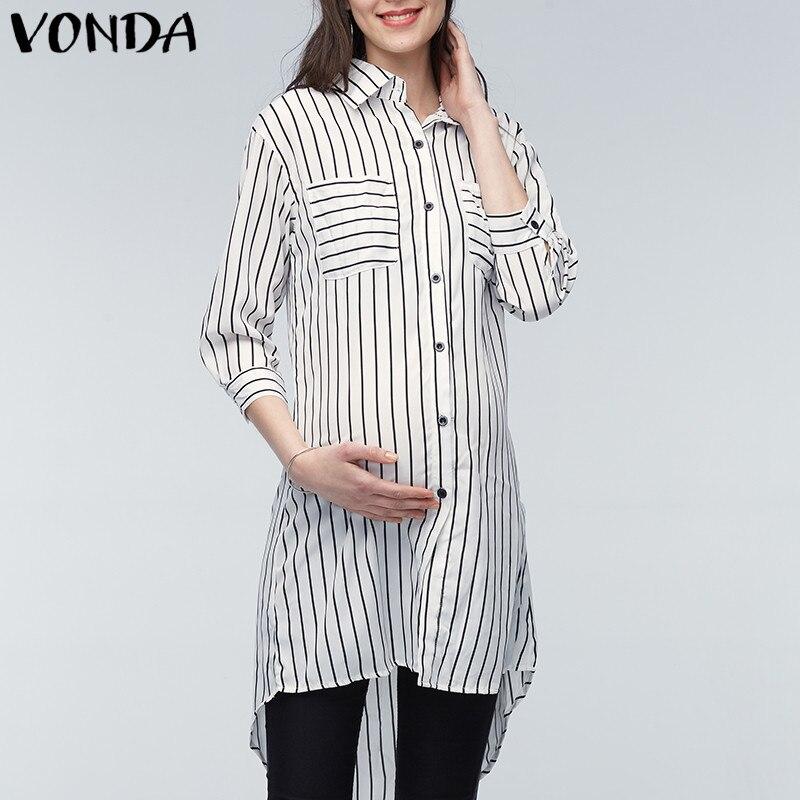 VONDA, ropa de maternidad, blusas para mujeres embarazadas, 2020, solapas para embarazadas, manga 3/4, camisas holgadas informales a rayas de talla grande