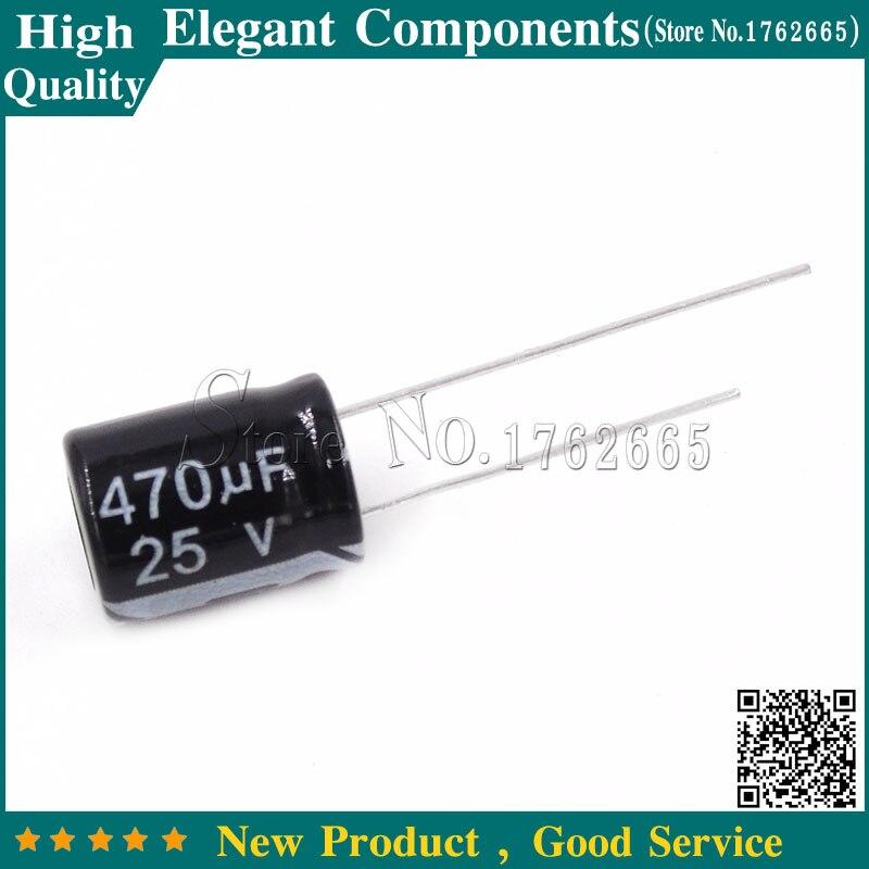 Электролитические конденсаторы, Алюминиевые Электролитические Конденсаторы размером 10*13 мм, 20 шт., 470 UF 25В/470 мкФ