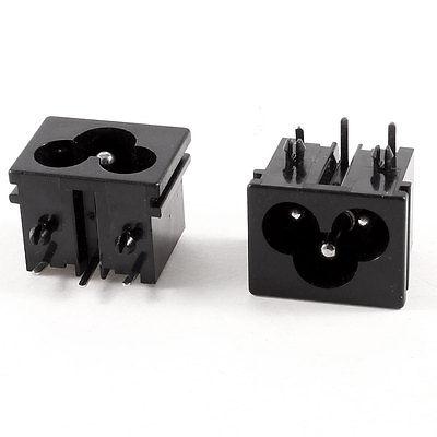 2 uds AC 250V 2.5A 3-Pin tipo abrazadera IEC320 C6 entrada de alimentación hembra