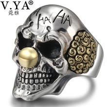 V. Ya Punk Zilveren Clown Schedel Ringen 925 Sterling Zilver Mannelijke Ring Verstelbare Heren Sieraden Gothic Stijl Mode Geschenken