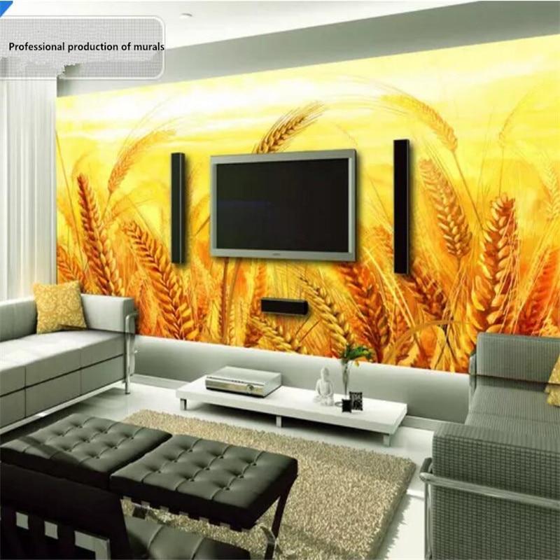 الذهبي الأصفر القمح التلفزيون حائط الخلفية المهنية إنتاج جدارية خلفية مخصصة المشارك الصورة جدار